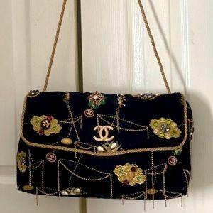 Auth CHANEL Denim Beads Pearls Jumbo Flap Bag RARE